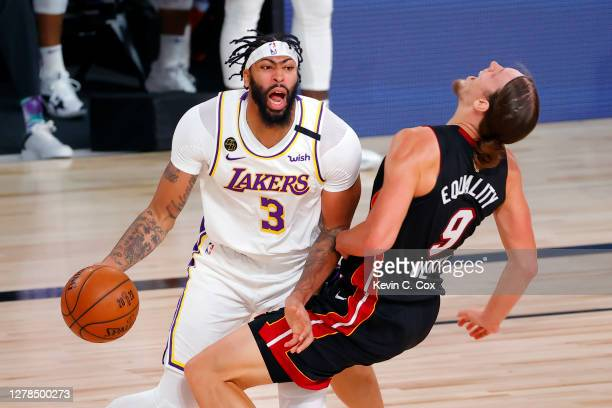 Anthony Davis of the Los Angeles Lakers is called for a foul against Kelly Olynyk of the Miami Heat during the first half in Game Three of the 2020...