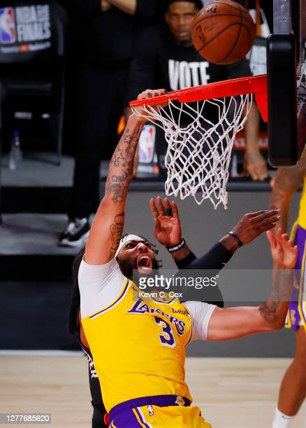 Anthony Davis of the Los Angeles Lakers is fouled during the fourth quarter against the Miami Heat in Game One of the 2020 NBA Finals at AdventHealth...