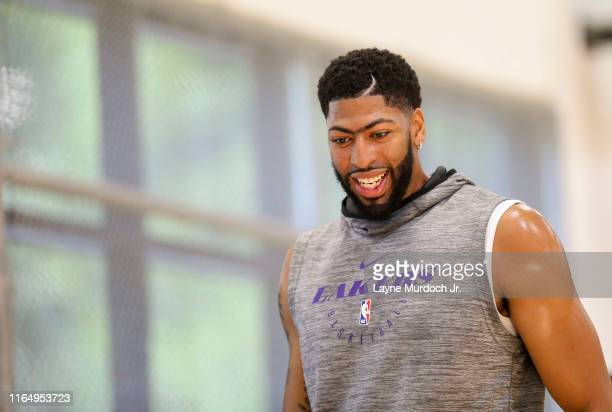 Anthony Davis of the Los Angeles Lakers looks on during NBA offseason at Mamba Sports Academy in Thousand Oaks California NOTE TO USER User expressly...