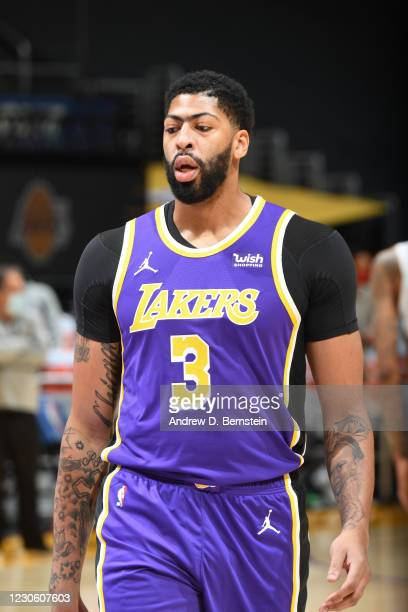 Anthony Davis of the Los Angeles Lakers looks on during the game against the New Orleans Pelicans on January 15, 2021 at STAPLES Center in Los...