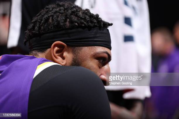 Anthony Davis of the Los Angeles Lakers looks on during the game against the Washington Wizards on April 28, 2021 at Capital One Arena in Washington,...