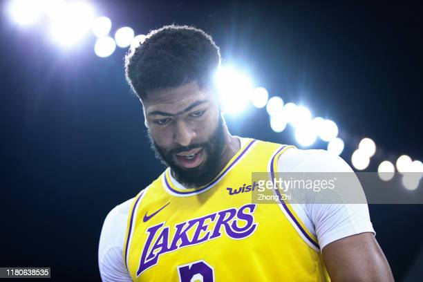 Anthony Davis of the Los Angeles Lakers looks on during the match against the Brooklyn Nets during a preseason game as part of 2019 NBA Global Games...