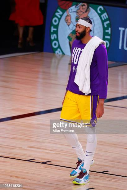 Anthony Davis of the Los Angeles Lakers looks on following a win against the Denver Nuggets in Game One of the Western Conference Finals during the...