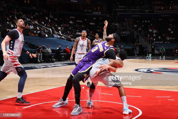 Anthony Davis of the Los Angeles Lakers plays defense during the game against the Washington Wizards on April 28, 2021 at Capital One Arena in...