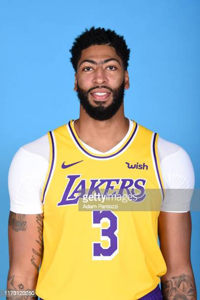 Anthony Davis of the Los Angeles Lakers poses for a head shot during media day on September 27, 2019 at the UCLA Health Training Center in El...