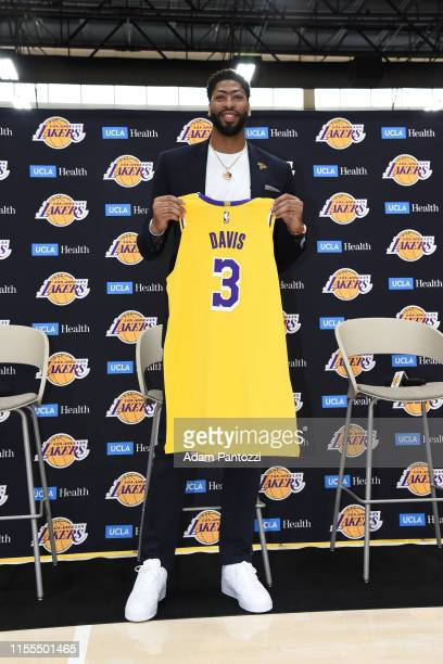 Anthony Davis of the Los Angeles Lakers poses for a phtoograph during a press conference on July 13 2019 at the UCLA Health Training Center in El...