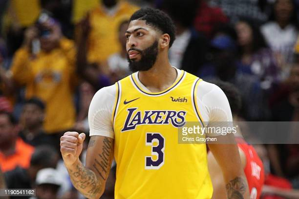 Anthony Davis of the Los Angeles Lakers reacts after defeating the New Orleans Pelicans at Smoothie King Center on November 27, 2019 in New Orleans,...