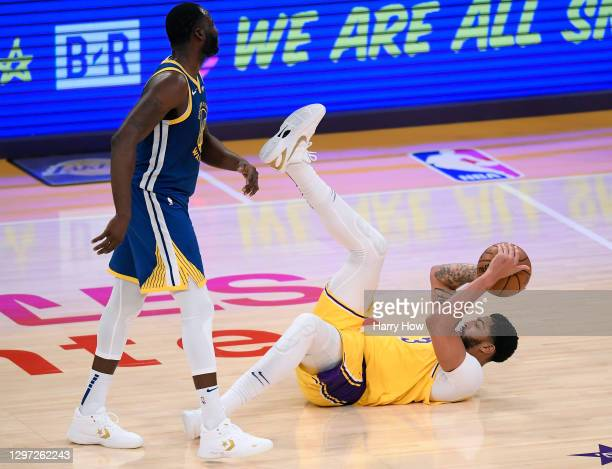 Anthony Davis of the Los Angeles Lakers reacts after he is fouled by Draymond Green of the Golden State Warriors during a 115-113 Warriors win on...