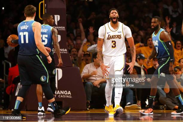 Anthony Davis of the Los Angeles Lakers reacts during the first half against the Dallas Mavericks at Staples Center on December 01 2019 in Los...