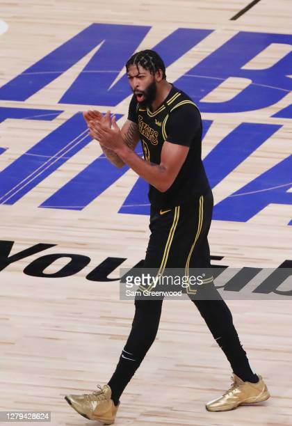 Anthony Davis of the Los Angeles Lakers reacts during the fourth quarter against the Miami Heat in Game Five of the 2020 NBA Finals at AdventHealth...