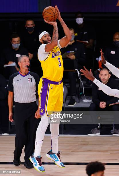 Anthony Davis of the Los Angeles Lakers shoots a three point basket during the third quarter in Game One of the Western Conference Finals during the...