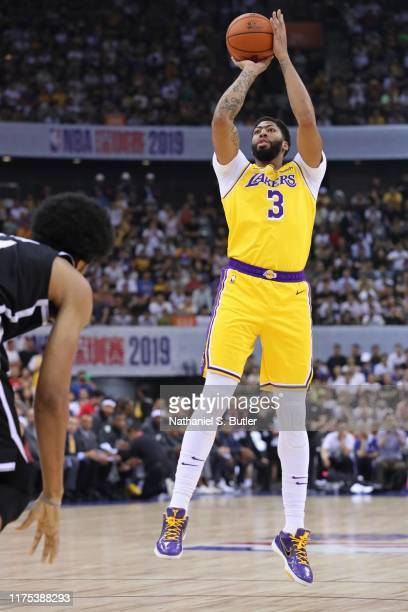 Anthony Davis of the Los Angeles Lakers shoots the ball against the Brooklyn Nets during a preseason game as part of 2019 NBA Global Games China on...