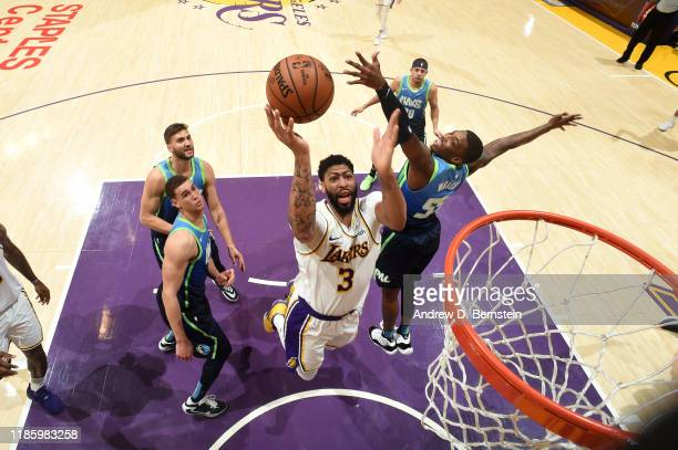 Anthony Davis of the Los Angeles Lakers shoots the ball against the Dallas Mavericks on December 1 2019 at STAPLES Center in Los Angeles California...
