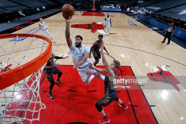Anthony Davis of the Los Angeles Lakers shoots the ball against the Chicago Bulls on January 23, 2021 at United Center in Chicago, Illinois. NOTE TO...