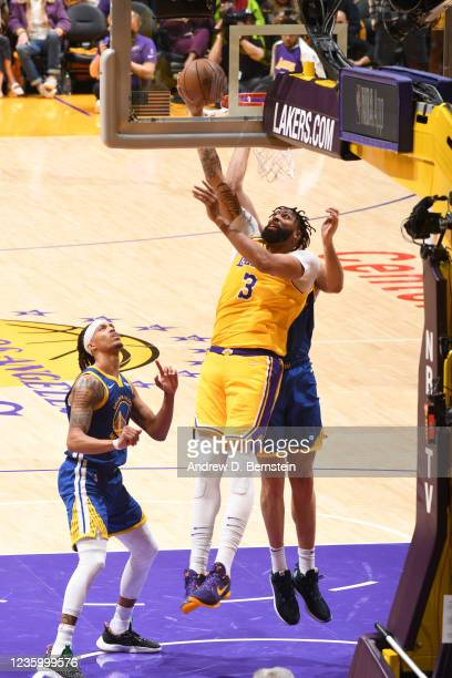 Anthony Davis of the Los Angeles Lakers shoots the ball against the Golden State Warriors on October 19, 2021 at STAPLES Center in Los Angeles,...