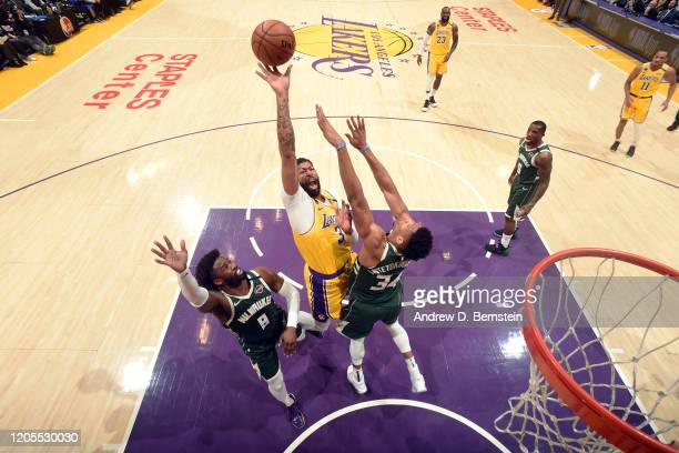 Anthony Davis of the Los Angeles Lakers shoots the ball during the game against the Milwaukee Bucks on March 6 2020 at STAPLES Center in Los Angeles...