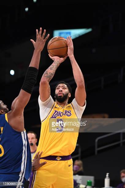 Anthony Davis of the Los Angeles Lakers shoots the ball during the game against the Golden State Warriors on January 18, 2021 at STAPLES Center in...