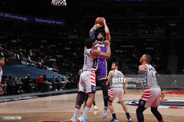 Anthony Davis of the Los Angeles Lakers shoots the ball during the game against the Washington Wizards on April 28, 2021 at Capital One Arena in...
