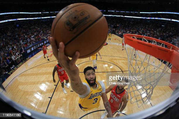 Anthony Davis of the Los Angeles Lakers shoots the ball over Jahlil Okafor of the New Orleans Pelicans at Smoothie King Center on November 27, 2019...