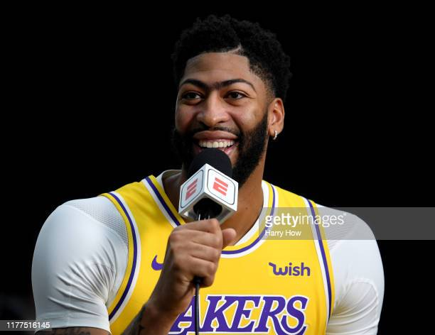 Anthony Davis of the Los Angeles Lakers smiles as he is interviewed during Los Angeles Laker media day at UCLA Health Training Center on September 27...