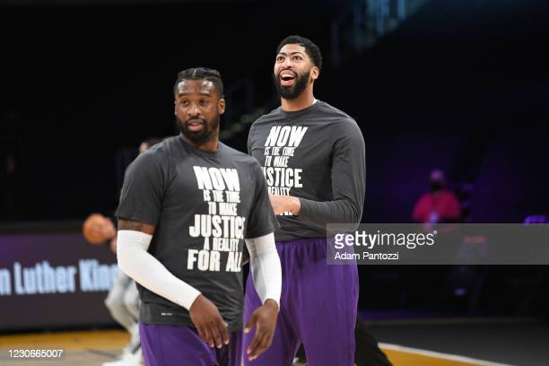 Anthony Davis of the Los Angeles Lakers smiles during the game against the Golden State Warriors on January 18, 2021 at STAPLES Center in Los...