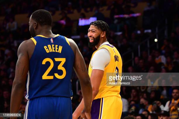 Anthony Davis of the Los Angeles Lakers smiles during the game against the Golden State Warriors on October 19, 2021 at STAPLES Center in Los...