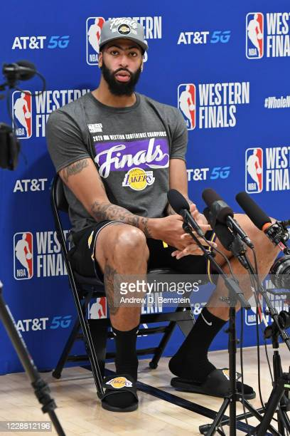 Anthony Davis of the Los Angeles Lakers speaks to the media after winning during Game Five of the Western Conference Finals against the Denver...