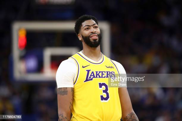 Anthony Davis of the Los Angeles Lakers stands on the court during their game against the Golden State Warriors at Chase Center on October 05 2019 in...