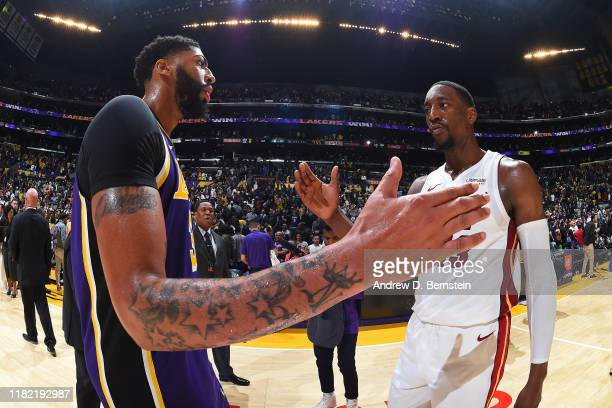 Anthony Davis of the Los Angeles Lakers talks with Bam Adebayo of the Miami Heat after the game on November 8 2019 at STAPLES Center in Los Angeles...