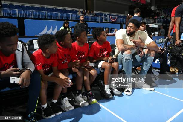 Anthony Davis of the Los Angeles Lakers talks with fans before the game on July 21 2019 at the Wintrust Arena in Chicago Illinois NOTE TO USER User...