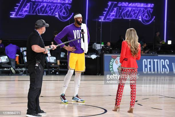 Anthony Davis of the Los Angeles Lakers talks with reporter Allie LaForce after winning Game One of the Western Conference Finals of the NBA Playoffs...