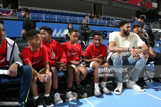 Anthony Davis of the Los Angeles Lakers talks with the children from the Nike Rise Camp on July 21 2019 at the Wintrust Arena in Chicago Illinois...