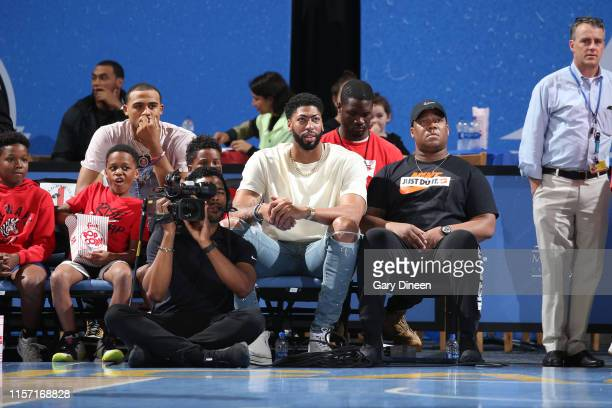 Anthony Davis of the Los Angeles Lakers watches the game on July 21 2019 at the Wintrust Arena in Chicago Illinois NOTE TO USER User expressly...