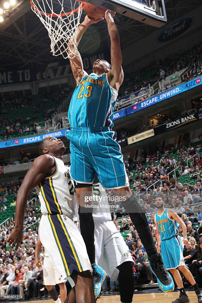 Anthony Davis #23 of the New Orleans Hornets dunks against Paul Millsap #24 of the Utah Jazz at Energy Solutions Arena on January 30, 2013 in Salt Lake City, Utah.