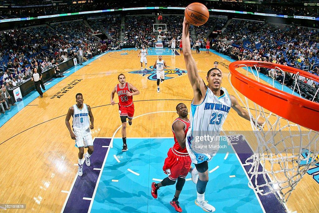 Anthony Davis #23 of the New Orleans Hornets dunks on a fast break against the Chicago Bulls on February 19, 2013 at the New Orleans Arena in New Orleans, Louisiana.