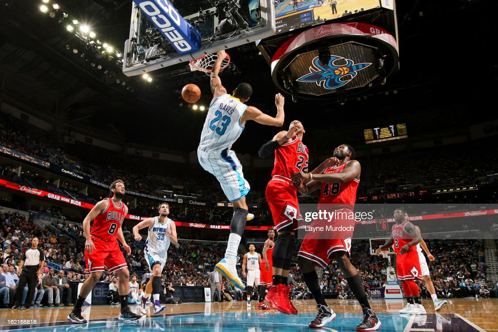 Anthony Davis #23 of the New Orleans Hornets dunks on an alley-oop pass against the Chicago Bulls on February 19, 2013 at the New Orleans Arena in New Orleans, Louisiana.