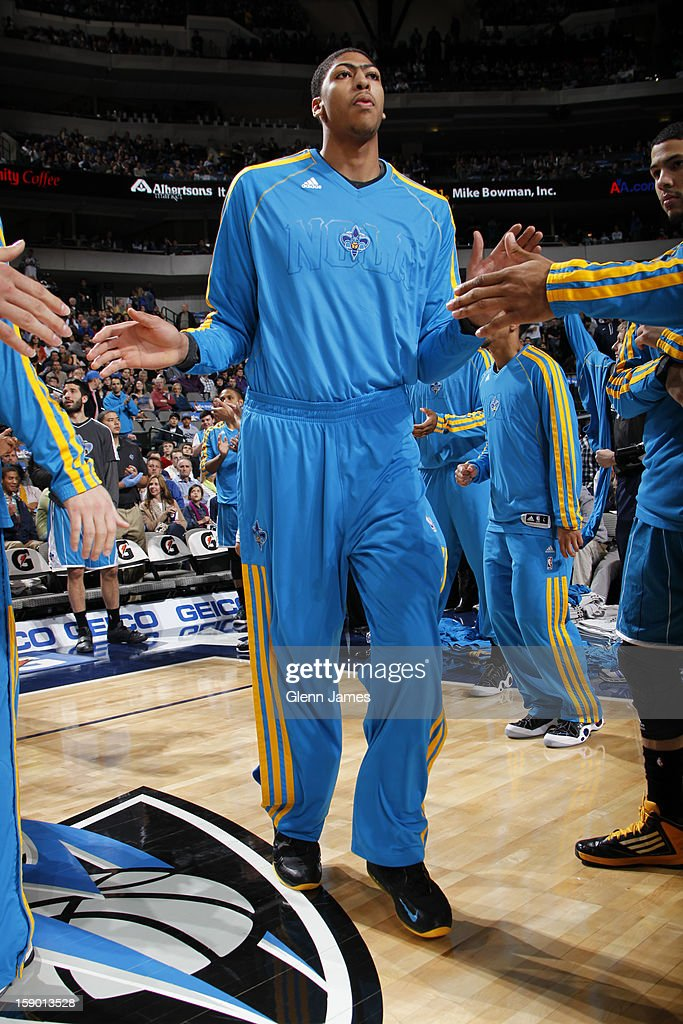 Anthony Davis #23 of the New Orleans Hornets is introduced to the starting lineups against the Dallas Mavericks on January 5, 2012 at the American Airlines Center in Dallas, Texas.