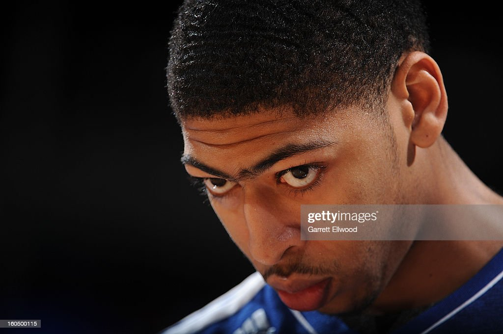 Anthony Davis #23 of the New Orleans Hornets looks on before the game against the Denver Nuggets on February 1, 2013 at the Pepsi Center in Denver, Colorado.
