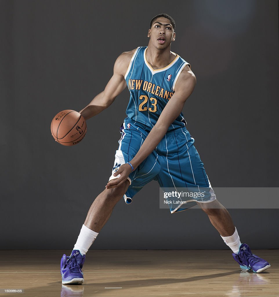Anthony Davis #23 of the New Orleans Hornets poses for a portrait during the 2012 NBA Rookie Photo Shoot at the MSG Training Center on August 21, 2012 in Tarrytown, New York.