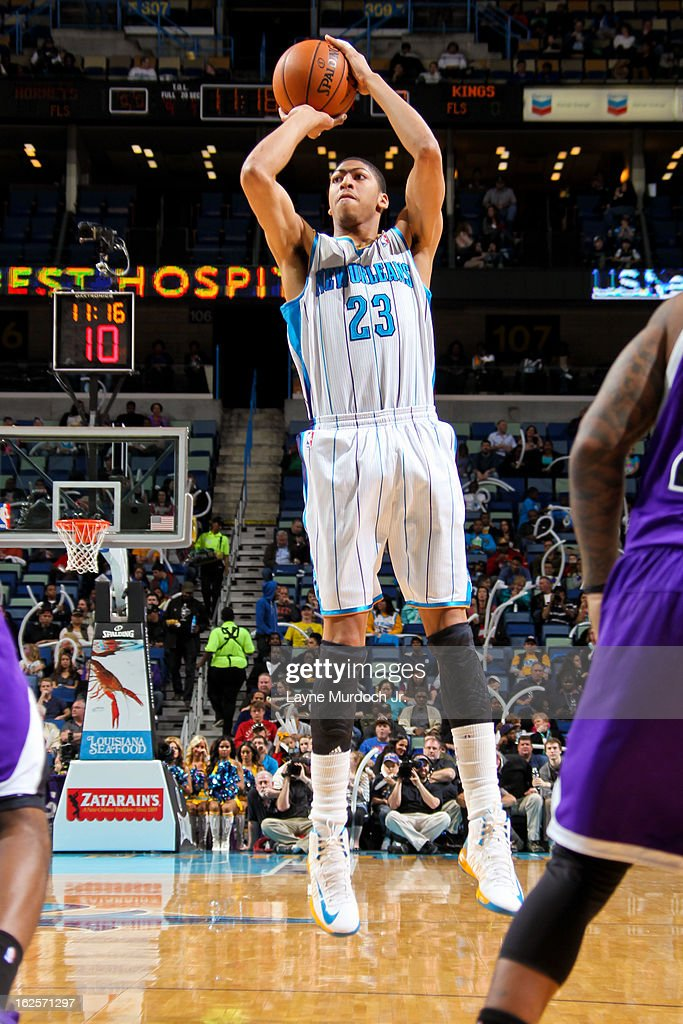 Anthony Davis #23 of the New Orleans Hornets shoots against the Sacramento Kings on February 24, 2013 at the New Orleans Arena in New Orleans, Louisiana.