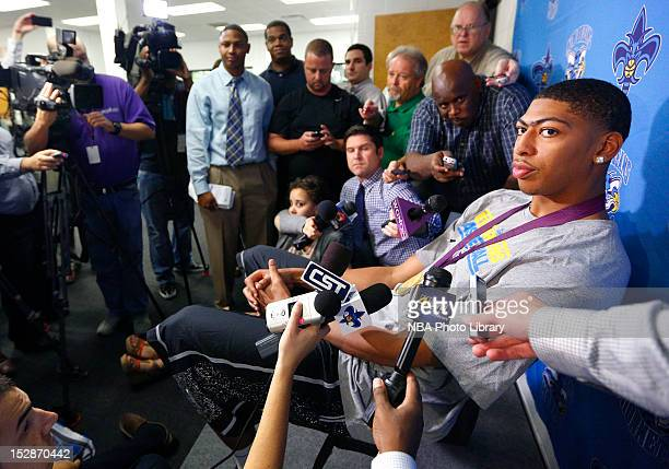 Anthony Davis of the New Orleans Hornets speaks to the media while wearing his Olympic gold medal on September 27 2012 at the New Orleans Saints...