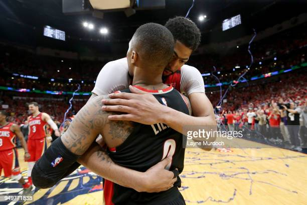 Anthony Davis of the New Orleans Pelicans and Damian Lillard of the Portland Trail Blazers talk after Game Four of Round One of the 2018 NBA Playoffs...