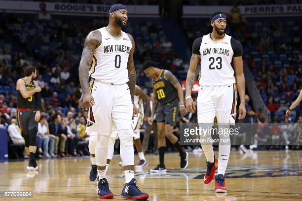 Anthony Davis of the New Orleans Pelicans and DeMarcus Cousins react during  the first half of 842d27307