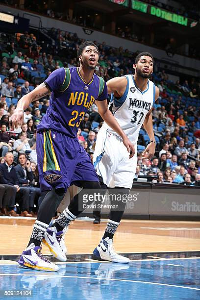 Anthony Davis of the New Orleans Pelicans and KarlAnthony Towns of the Minnesota Timberwolves during the game on February 8 2016 at Target Center in...