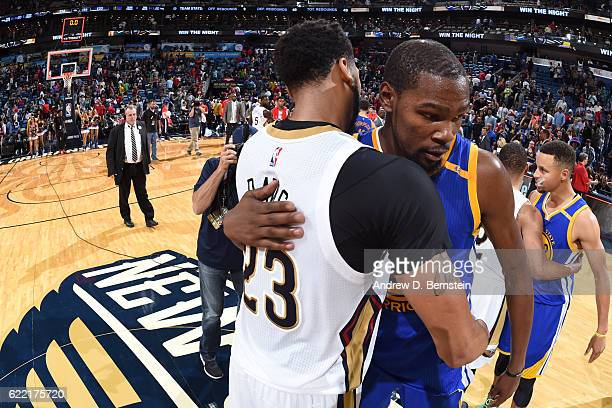 Anthony Davis of the New Orleans Pelicans and Kevin Durant of the Golden State Warriors talk after a game at Smoothie King Center on October 28 2016...