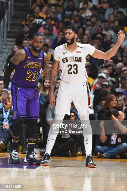 Anthony Davis of the New Orleans Pelicans and LeBron James of the Los Angeles Lakers jock for a position during the game on December 21 2018 at...