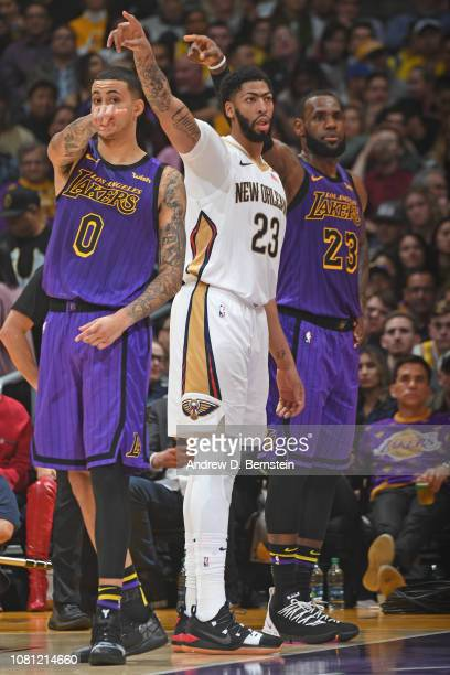 Anthony Davis of the New Orleans Pelicans and LeBron James of the Los Angeles Lakers is seen pointing in the same direction after a call during the...