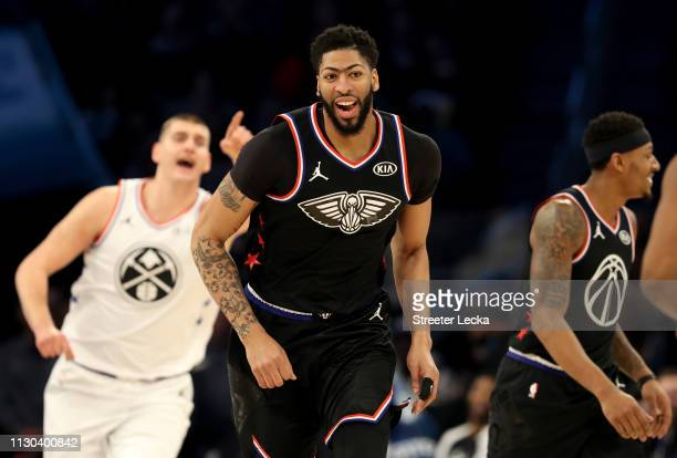 Anthony Davis of the New Orleans Pelicans and Team LeBron reacts against Team Giannis in the first quarter during the NBA All-Star game as part of...