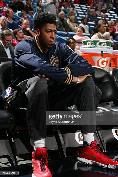 Anthony Davis of the New Orleans Pelicans before the game against the Indiana Pacers during the game on January 8 2016 at the Smoothie King Center in...