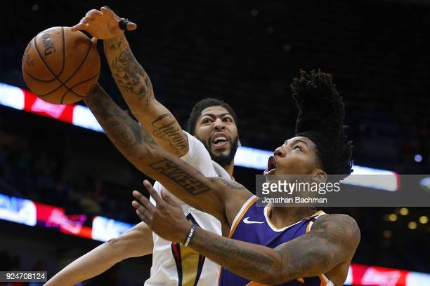 Anthony Davis of the New Orleans Pelicans blocks a shot from Elfrid Payton of the Phoenix Suns during the first half at the Smoothie King Center on...